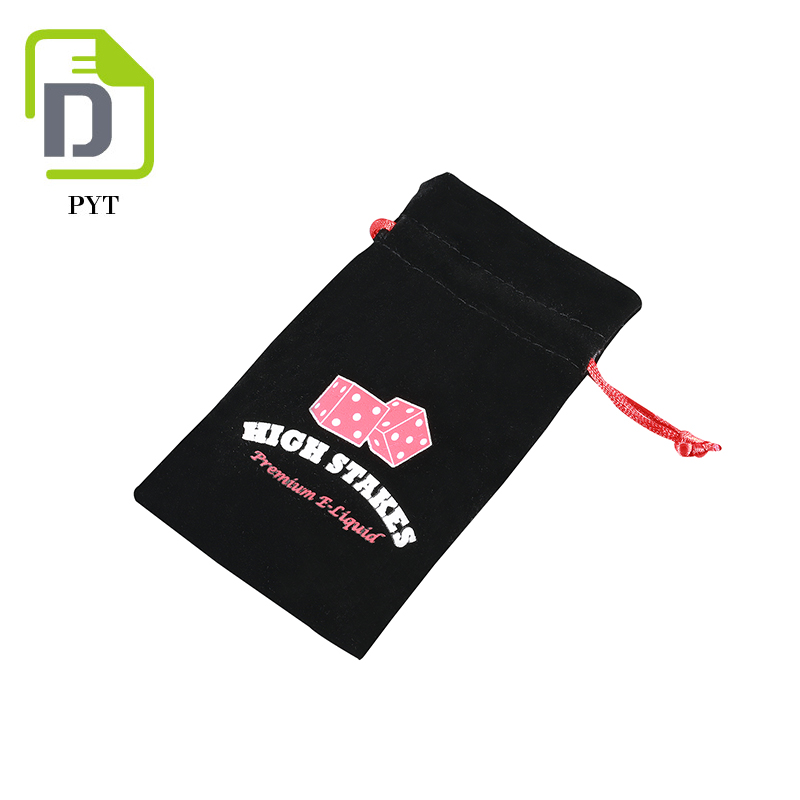 Customized simple design black velvet drawstring pouch with logo printing