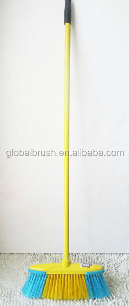 HQ0153 with long metal handle shinny yellow soft edge plastic broom