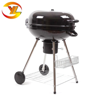 Yuelong factory european pulley stand heavy duty charcoal round bbq grill