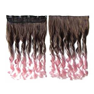 TOOGOO(R)Colorful Hair Extensions 130g 60cm/24inch heat resistant fantastic Synthetic Long Clip in Hair Extensions Women hair 5 clips one piece hair extensions (Curly, Brown + Pink)