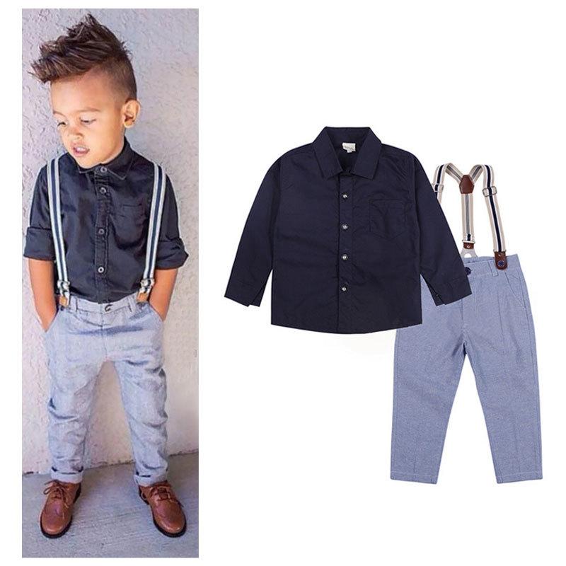 9f17d00bb5 Get Quotations · Gentleman Litle Boy Denim Overalls Set Cowboy Summer Spring  Clothing Suits 2PS Black Cotton T-