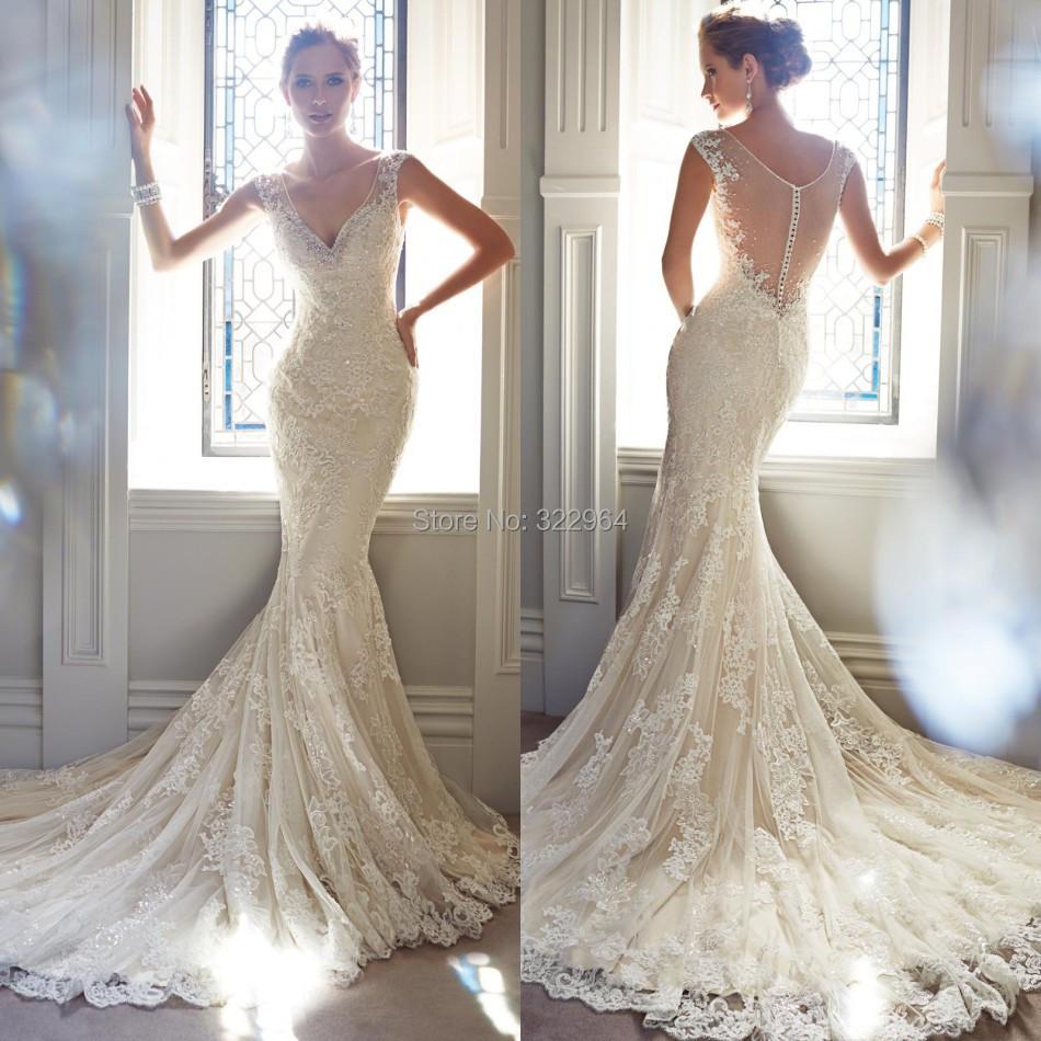 Beautiful Mermaid Wedding Gowns: Most Beautiful V Neck Mermaid Wedding Dress 2015 Court