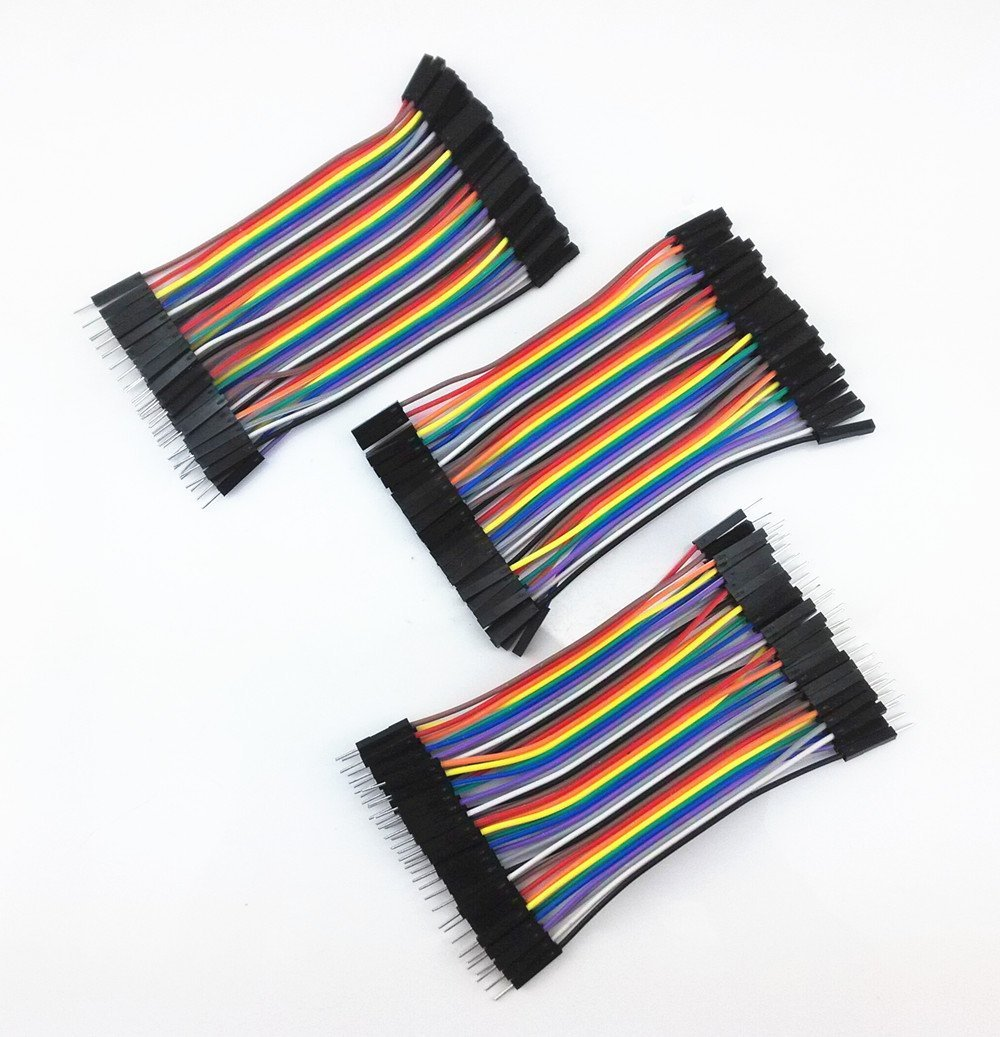 Yueton 3 Packs 10cm Multicolored 40 Pin Male To Female, 40 Pin Male To Male, 40 Pin Female To Female Breadboard Jumper Wires Ribbon Cables Kit