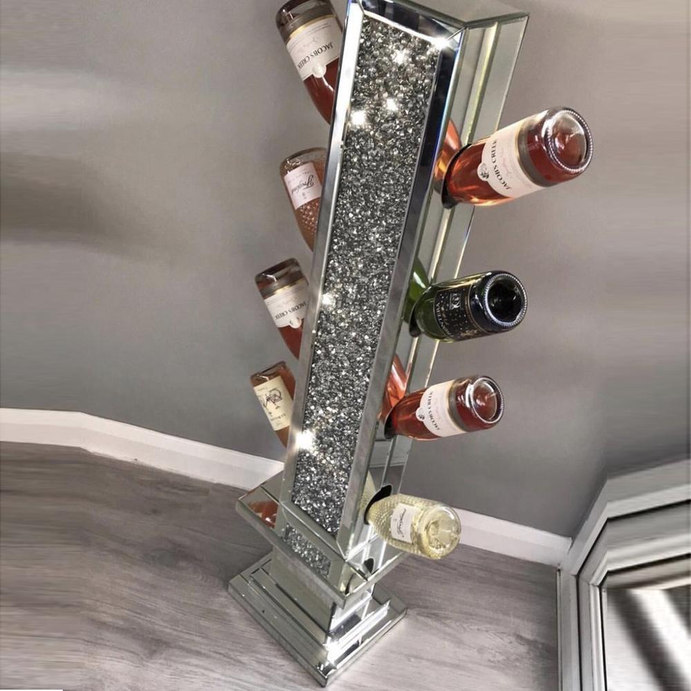 UK style hot sales crushed diamond floating silver mirrored wine bottle holder