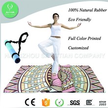 Top Quality microfiber suede Custom Digital Print yoga mat with carrying strap
