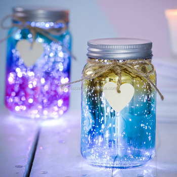 Sparkle Led Ombre Jar Gl With Light Fairy Lamp