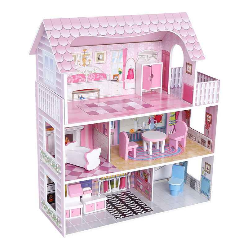 New Design Girls Pink Diy Wooden Play Furniture Big Doll House