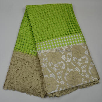 AG4731#6 2017 new arrival african guipure lace fabric/african green cupion lace with stones/cord lace