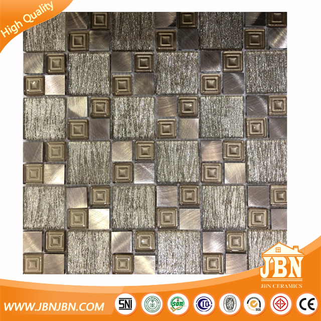 Laminated gold shinny manufacturing swimming pool tile foshan glass mosaic(G655110)
