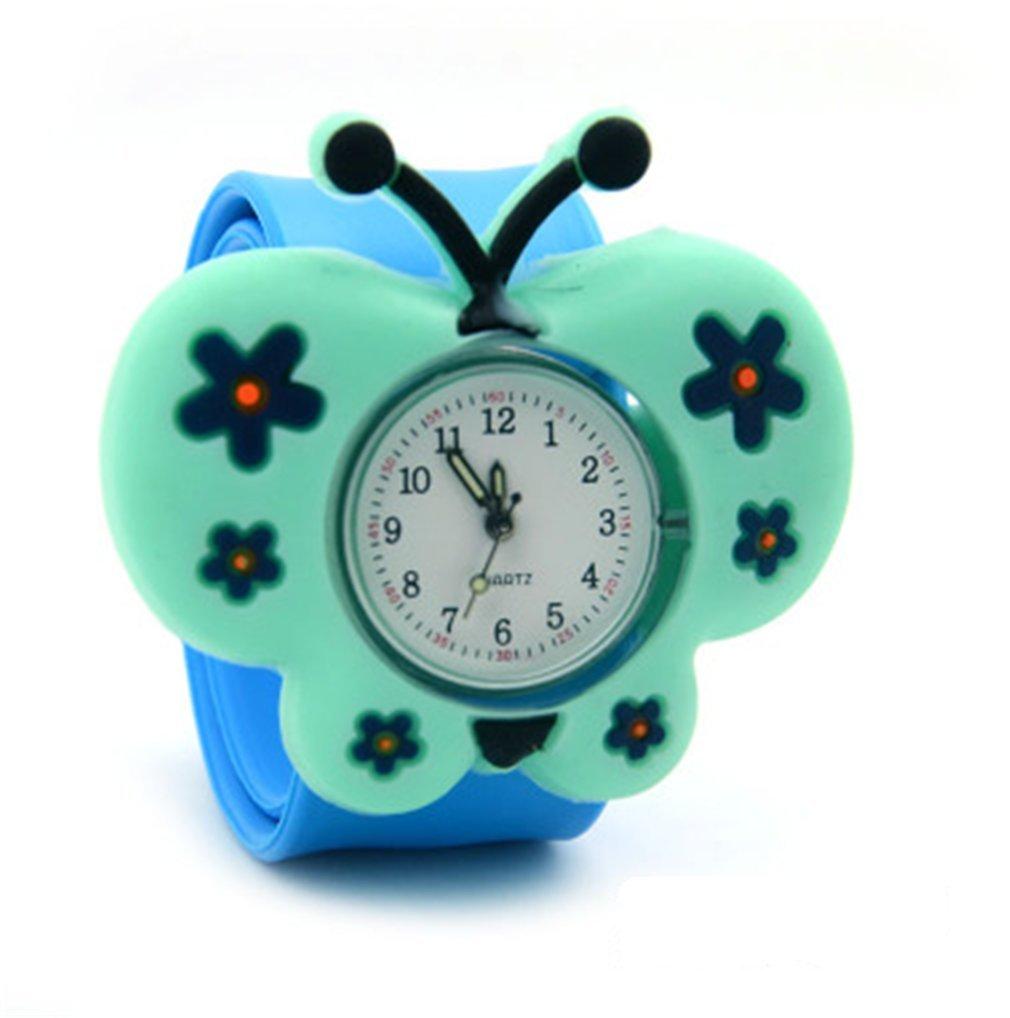 Vavna Lovely Boys Girls Fashion Cartoon Animal Silicone Slap Snap On Wrist Watch - Pale Blue Butterfly