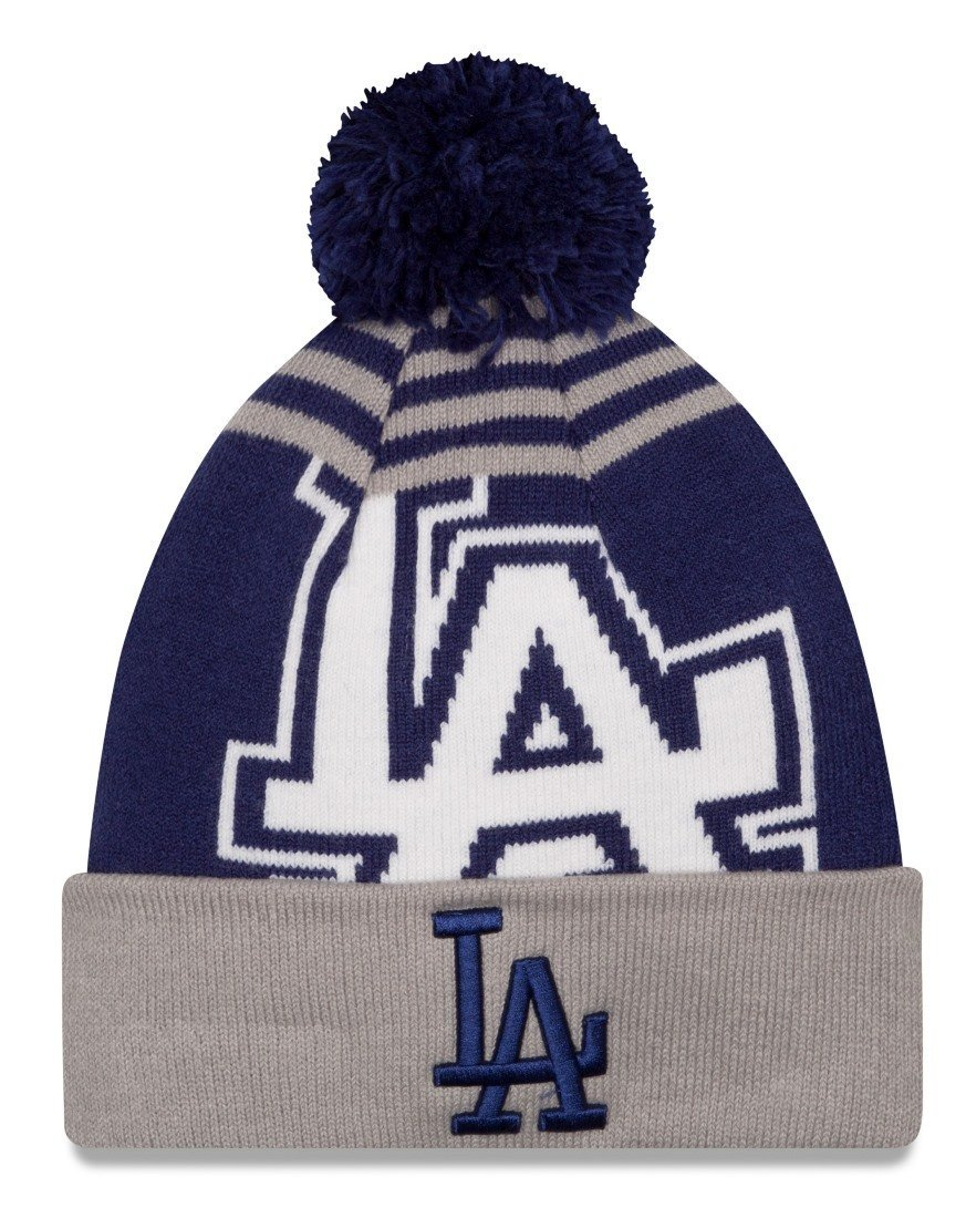 94674fa4e72 ... closeout get quotations los angeles dodgers new era mlb logo whiz cuffed  knit hat with pom