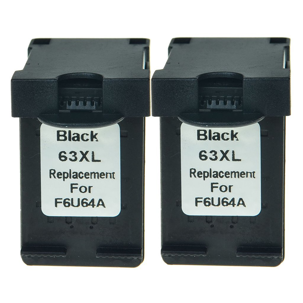 NineLeaf Remanufactured F6U64A Ink Cartridge Replacement for 63XL 63 XL OfficeJet 3831 3832 Printers High-Yield 480 Pages, Ink Level Indicator (Black,2 Pack)