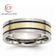Titanium 14k Yellow Inlay Flat 7mm Brushed Wedding Ring Band Precious Metal Fine Jewelry Ideal Mothers Day Gifts