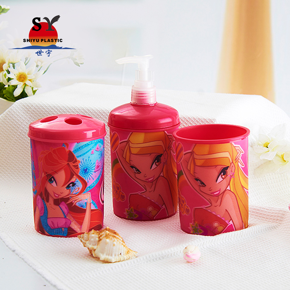 Hot selling promotionele 380 ml plastic 3d lenticulaire cartoon printing badkamer tandenborstelhouder set
