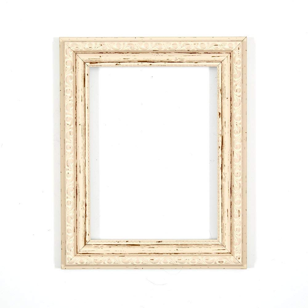 "FRAME Company Ready To Hang Or Stand Ornate Shabby Chic Picture/Photo/Poster With MDF Backing Board & High Clarity Styrene Shatterproof Perspex Sheet 6""X4"" Distressed White"