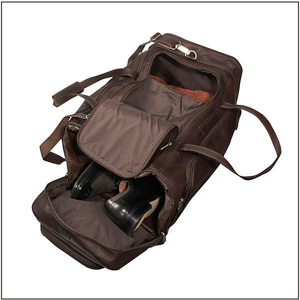 Leather Gym Duffle Bag Sport Bags With Shoe Compartment
