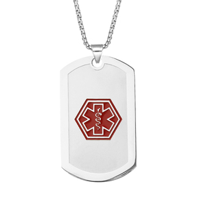 Stainless Steel Medical ID Dog Tag Pendant Necklace with Chain Custom Engraving