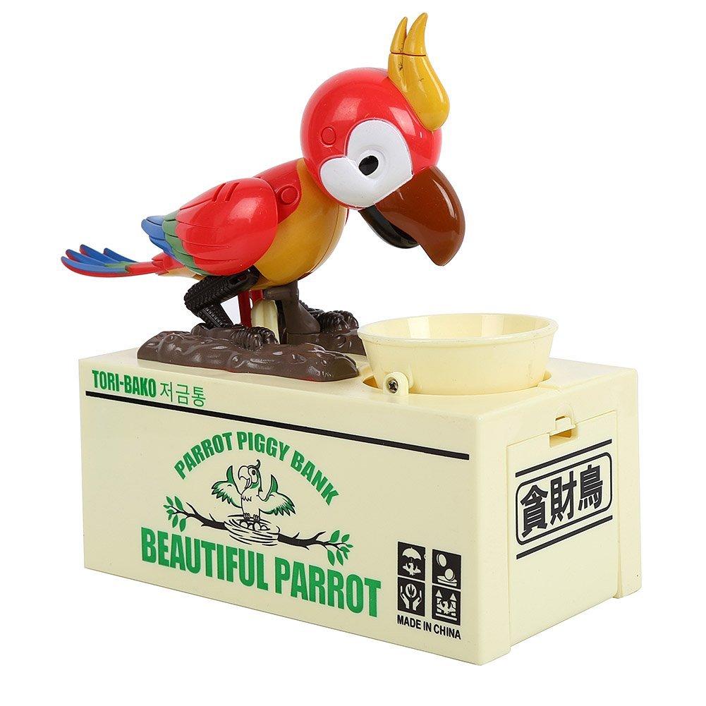Infinal Stealing Coin Parrot Piggy Bank Robotic Coin Munching Toy Money Box