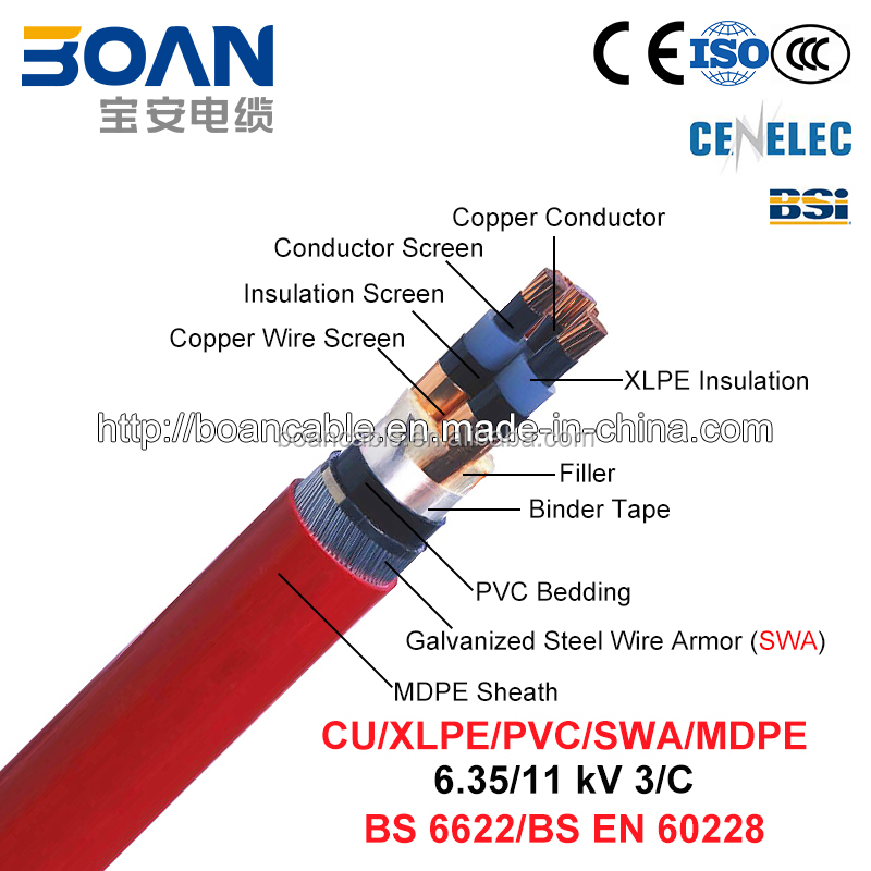 Free samples, BS 6622, Cu/XLPE/Cts/PVC/Swa/MDPE Power Cable, 3/C, 6.35/11kV