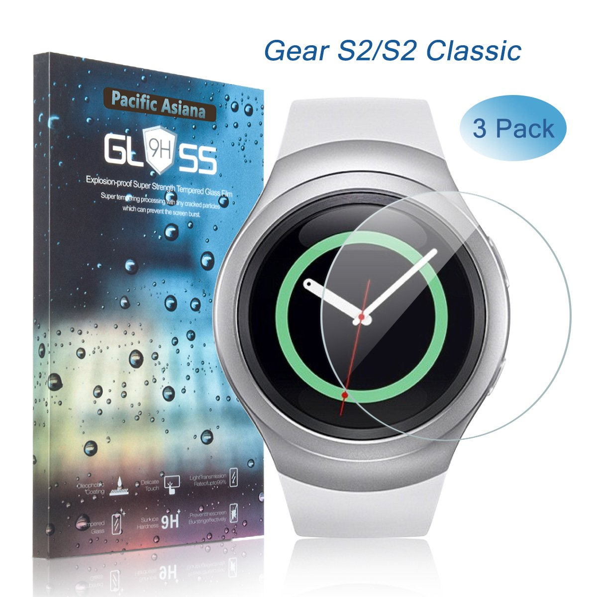 Samsung Gear S2 Screen Protector, [3-Pack] Pacific Asiana Ultra Thin HD Clear Ballistic Gear S2/Gear S2 Classic/S2 3G Tempered Glass Screen Protector, 9H Hardness Anti-scratch Smart Watch Skin Cover