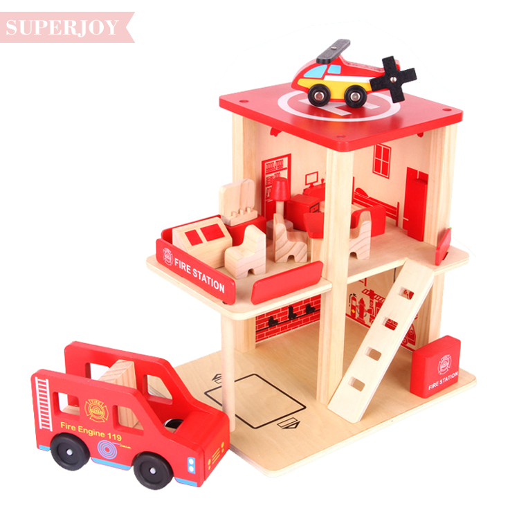 new design Wooden Toy Police Station Garage Fire Station with Garage SJ5257