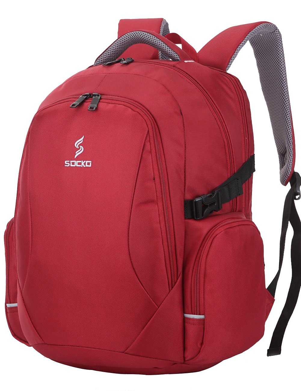 BRINCH® Deluxe Lightweight Durable Waterproof Multifunctional Nylon Backpack For College Travel Business Compus Knapsack Laptop Backpack Pack for Up To 15.6 Inch Laptop / Notebook / MacBook / Chromebook / iPad (Red)