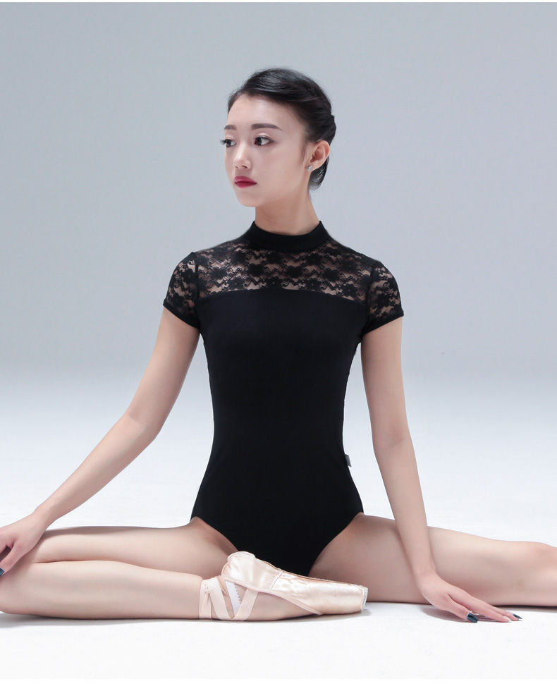 115141008 Ballet leotards with Lace Leotards Turtle Neck Dance Leotards