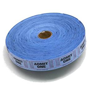 Blue Admit One Ticket Roll : roll of 2000