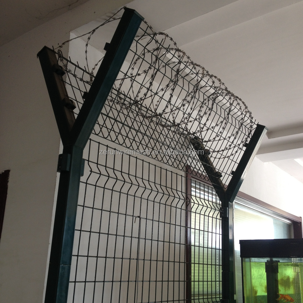 Cheap price 4mm wire thickness Y post welded wire mesh panel high security airport fence for wholesale
