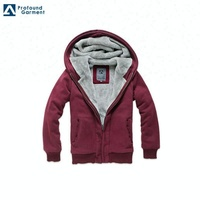 Fashion clothes new design plain zipper heavy thick fleece hoodie for men