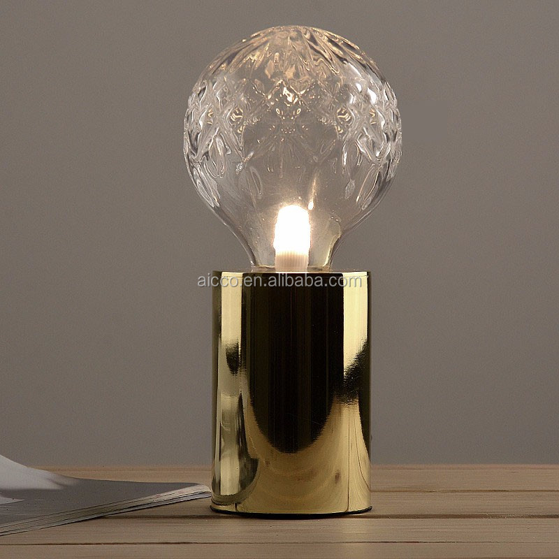 Small Led Table Lamp Golden Metal With Flower Globe Glass G9 Led ...