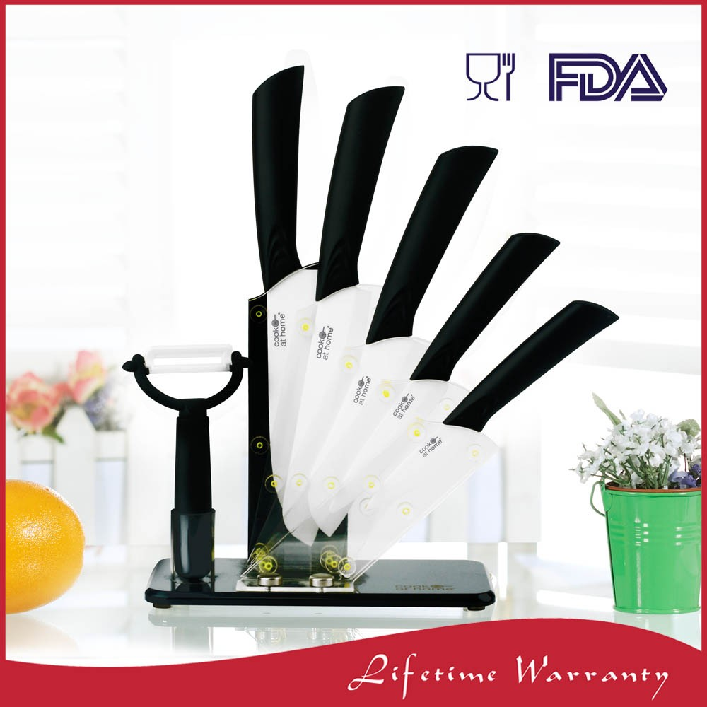 Customized printing 7 piece swiss kitchen ceramic knife with stand set