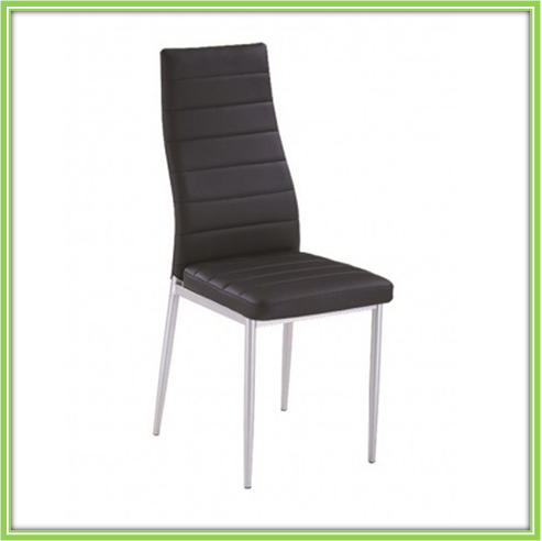 Modern Hot Sale Metal Frame Black Leather Chrome Dining Chair