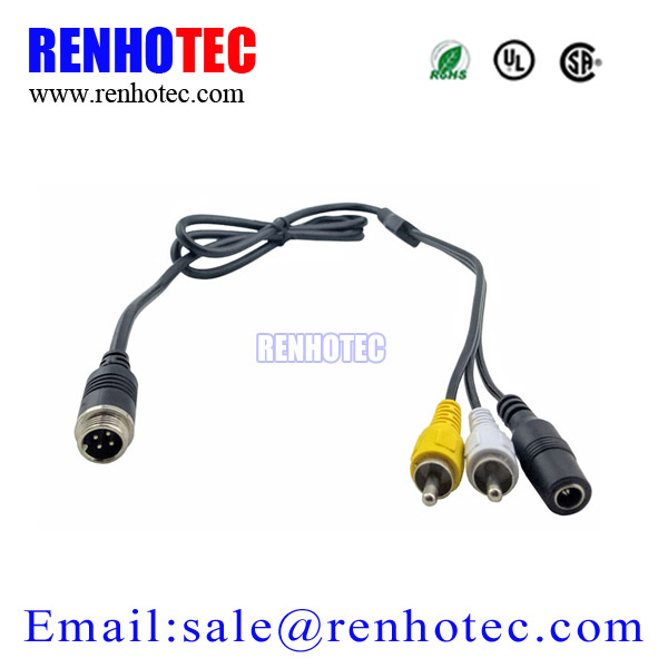 4 Pin Male Aviation cable to RCA DC Adapter Audio Video Cable for Tuck Parking Reversing Camera System