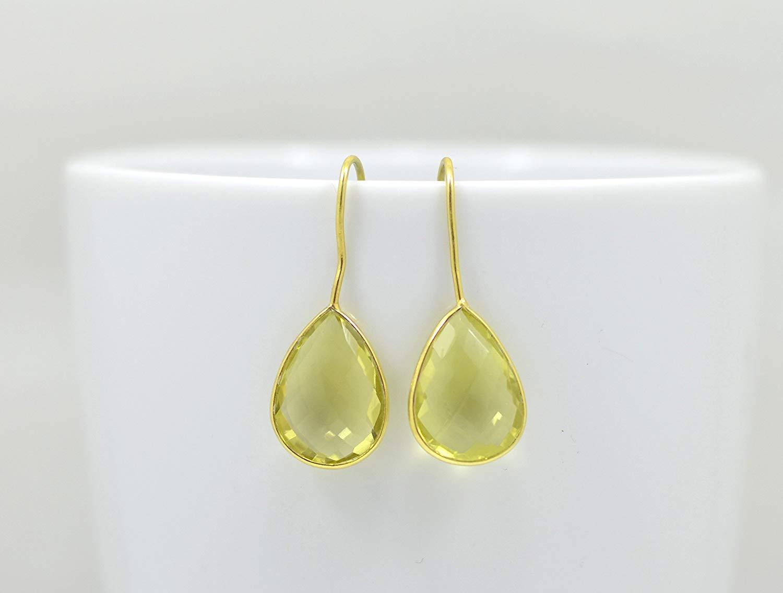 Teardrop Lemon Quartz Earrings Gold, Pear Shape Lemon Quartz Earrings Silver, Lemon Quartz Earrings Sterling 925