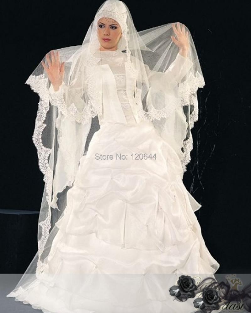 Elegant Long Sleeve Wedding Dresses Muslim Dress 2015: Elegant Long Sleeve White Dubai Muslim Wedding Kaftan