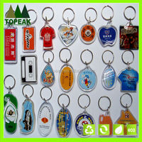 cheapest style clear acrylic keyring with photo frame blank plastic keychains