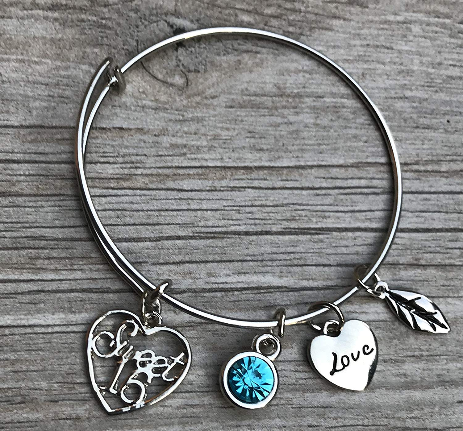 b611bd8ba7e Personalized Sweet 16 Charm Bangle Bracelet with Birthstone