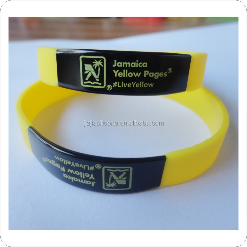 printed metal bands /silicone ID bracelets/QR silicone bangles