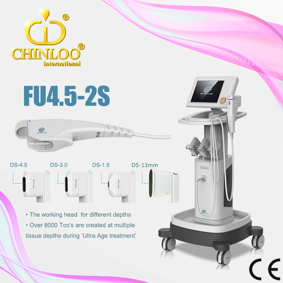 ( Chinloo /manufacuturer )FU4.5-2S Newest HIFU face lifting and hifu body slimming machine for wrinkles removal and skin tighten