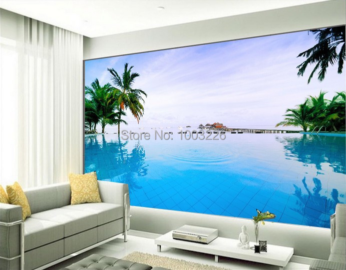 Aliexpress Com Buy Large Custom Mural Wallpapers Living: Coco-large-Mediterranean-seaside-mural-3D-photo-wallpaper