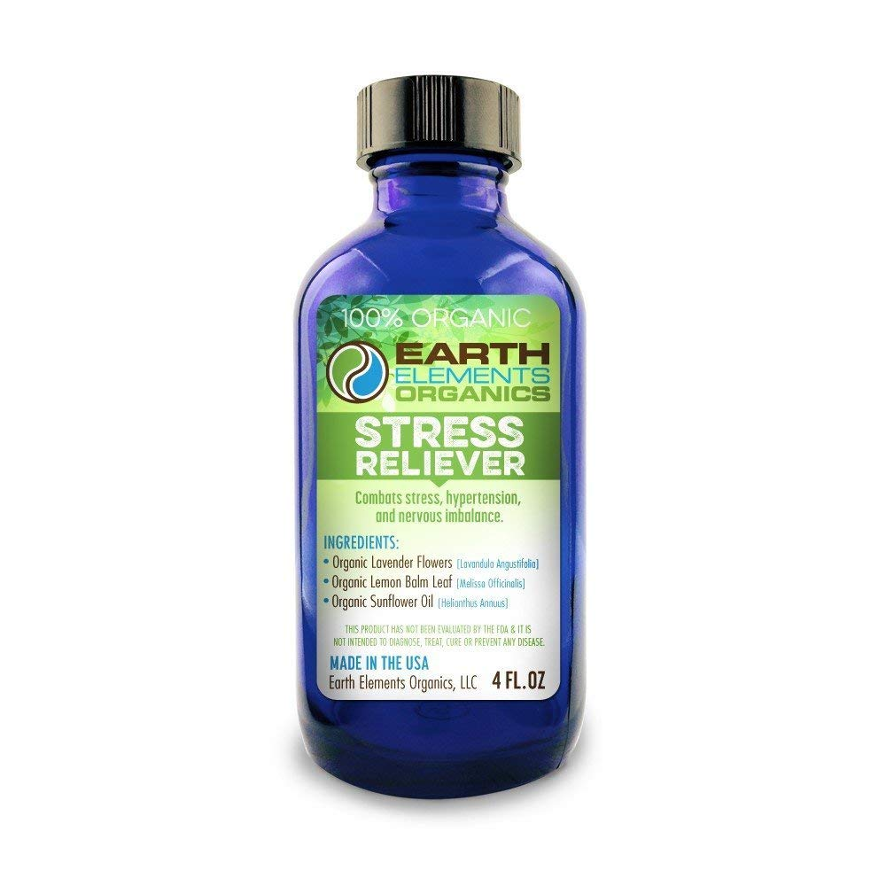 Earth Elements Organics - Raw, Organic NonGMO Enzyme-Rich Cold-Pressed Lavender & Lemon Balm Medicinal Oil Blend - Calming Stress Relief Lowers Blood Pressure: 4fl. oz./ 118.3ml MADE in the USA