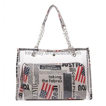 Designer Clear Handbag Pvc Transparent Beach Bag - Buy Transparent ...