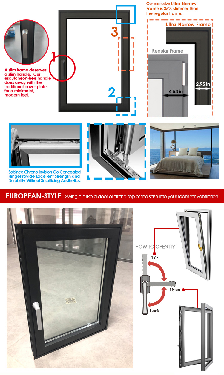 Hot sale factory direct modern replacement windows new house window design