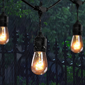 2018 Classical 60 Ft Outdoor Led Festoon Black Plastic Patio String Lights IP44