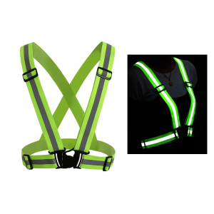 high visibility elastic adjustable running vest polyester safety belt reflective in the dark