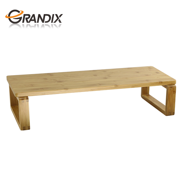 Simple Design High Quality Natural Bamboo Monitor Riser Stand Computer Desk
