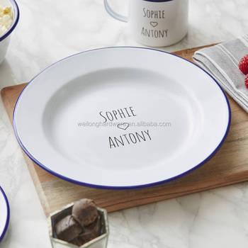 Hot Antique Vintage White Enamel Metal Dinner Plates With Customized Rim Enamelware