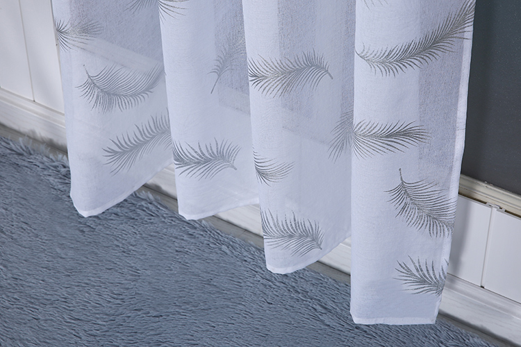 China supplier tulle panel feather printed glitter metallic foil home curtain