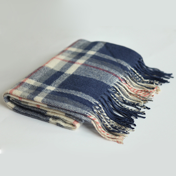 Cheap fashion classical women 100% cashmere wool instant winter knitting wool plaid scarf cotton hair women chiffon lady scarf